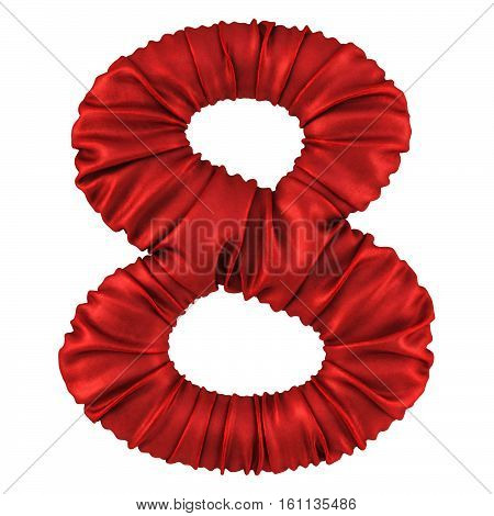 digits made of red fabric. Isolated on white. 3D illustration.