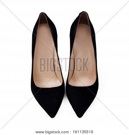 stylish black female shoes in white background