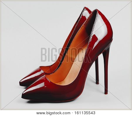 red women high heel women shoe over grey