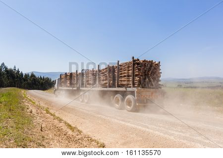 Truck vehicle transporting cut forest tree wood logs on dirt road mountain countryside.