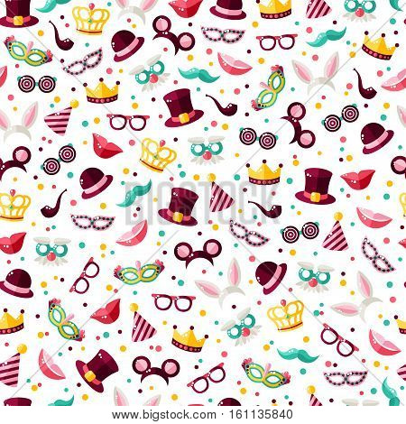 Seamless pattern with carnival masks, hats and clown caps. Vector illustration. Masquerade wallpaper with confetti