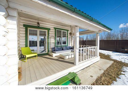 Russia, Moscow region - an open terrace in a wooden house