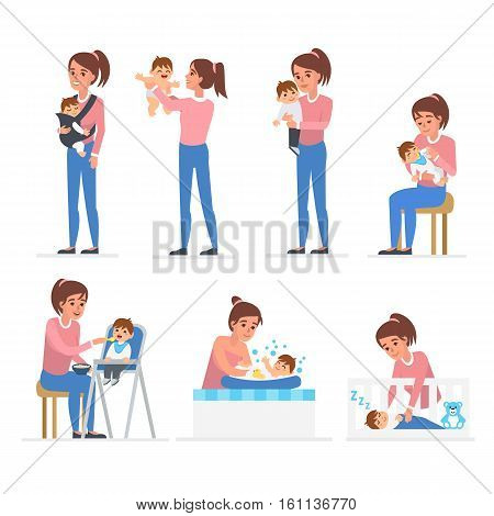 Mother and baby illustration collection. Baby feeding playing bathing sleeping. Vector illustrations.