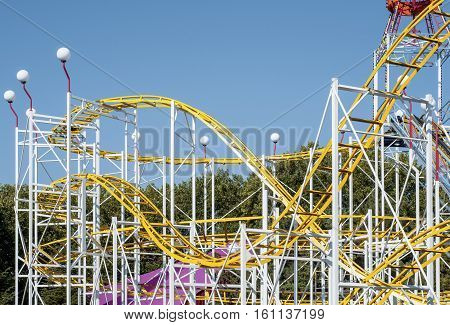 Roller coaster rails in an amusement park