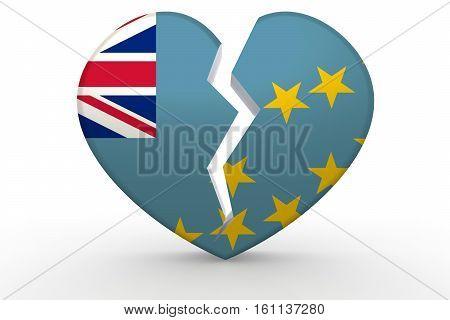 Broken White Heart Shape With Tuvalu Flag