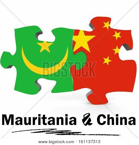 China And Mauritania Flags In Puzzle