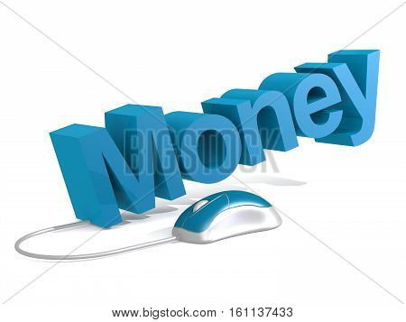 Money Word With Blue Mouse