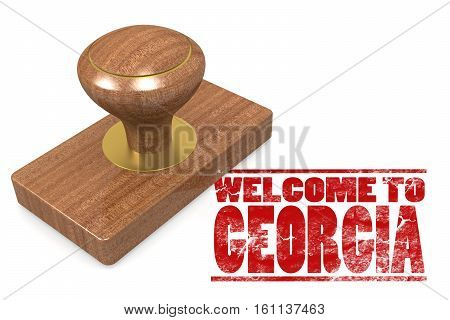Red Rubber Stamp With Welcome To Georgia