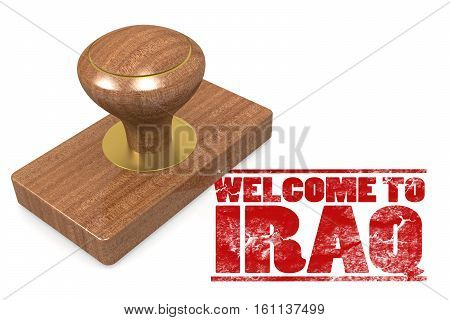 Red Rubber Stamp With Welcome To Iraq