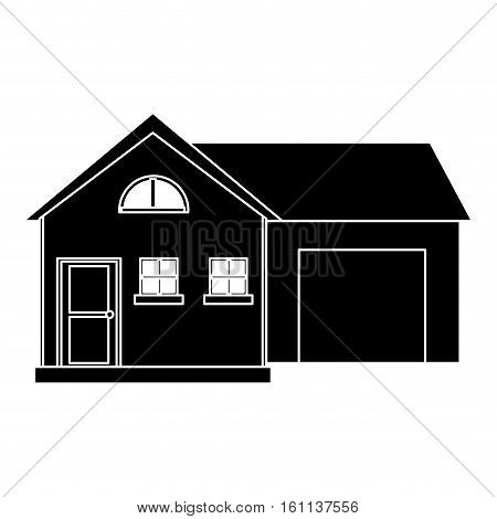 house modern style with garage pictogram vector illustration eps 10