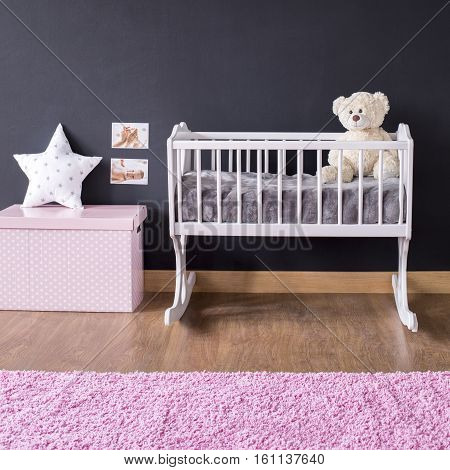 Minimalist Girl's Nursery With Cradle