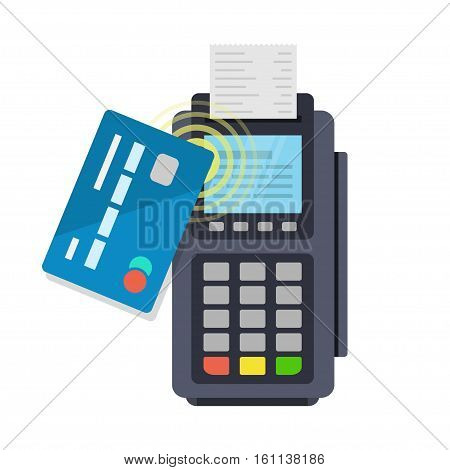 Contactless payment purchase vector icon in a flat style. Wireless bank payment by debit or credit card and POS terminal. NFC payments concept.