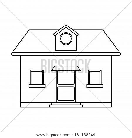 front view home round window loft outline vector illustration eps 10