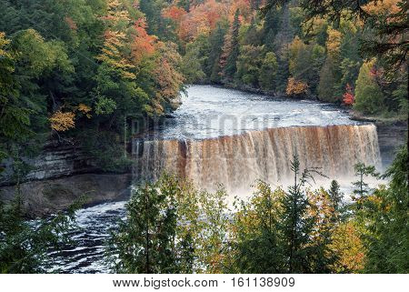 Spectacular Upper Falls on the Tahquamenon River in Autumn, Chippewa County, Michigan, USA