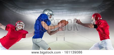3D American football players against rugby pitch