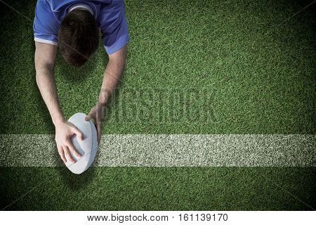 3D A rugby player scoring a try against pitch with line