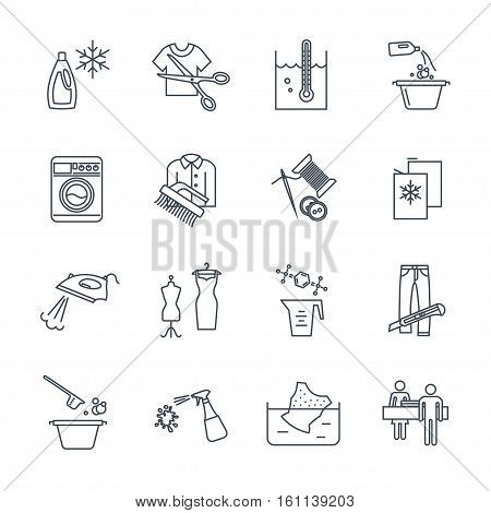 set of thin line icons dry cleaning and laundry service production process
