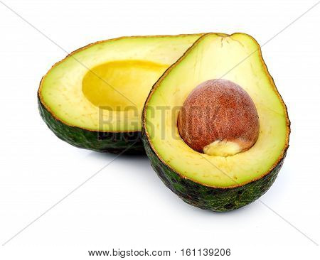 Avocado on white background half, three, seed, nutritious, ingredient