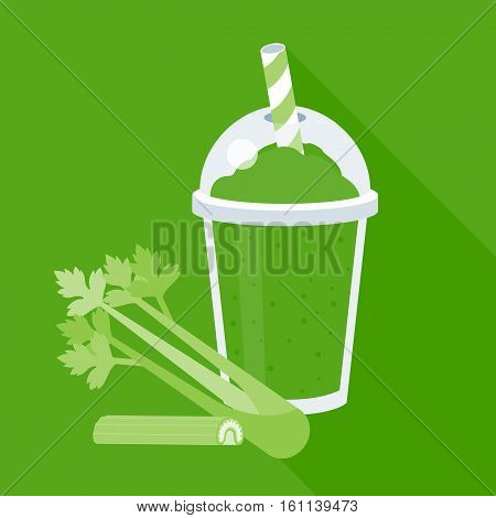 Celery smoothie or juice in plastic glass, flat design vector