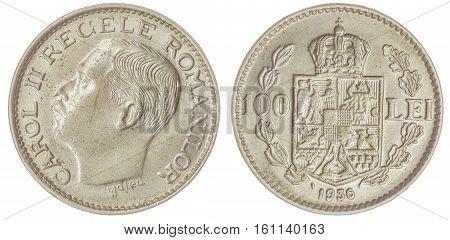 100 Lei 1936 Coin Isolated On White Background, Romania