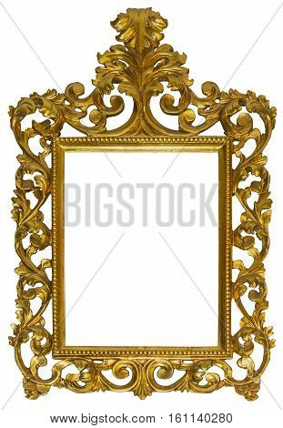 Antique gilded wooden Frame Isolated with Clipping Path