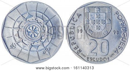 20 Escudos 1991 Coin Isolated On White Background, Portugal