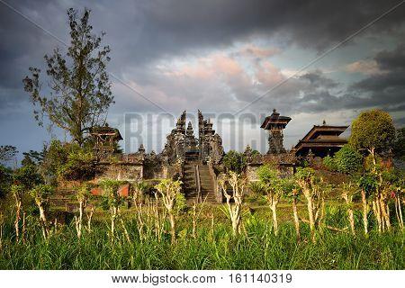 Hindu temple Pura Agung on sunset. Island Bali. Indonesia