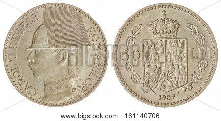 50 Lei 1937 Coin Isolated On White Background, Romania