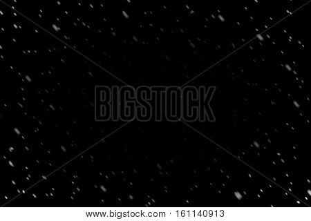 Rain Fall Concept. Falling Raindrops, Wide Angle, On Black Background. Oval Frame Of Rain Angle 45.