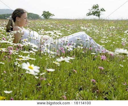 pregnat woman on meadow