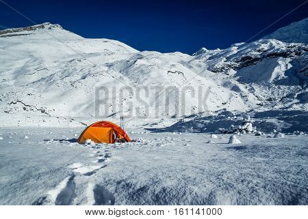 Snowy Country With Tent