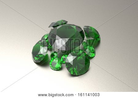 Background with green gemstones. Fashionable and stylish accessories. 3D illustration