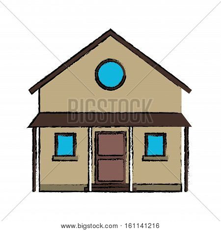 drawing familiy house countryside vector illustration eps 10