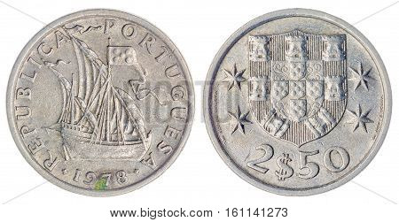 2.5 Escudos 1978 Coin Isolated On White Background, Portugal