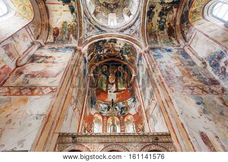 KUTAISI, GEORGIA - SEP 22, 2016: Ancient frescoes under the dome of medieval monastic cathedral Gelati on September 22, 2016. Gelati monastery was built in 12th century UNESCO World Heritage Site.