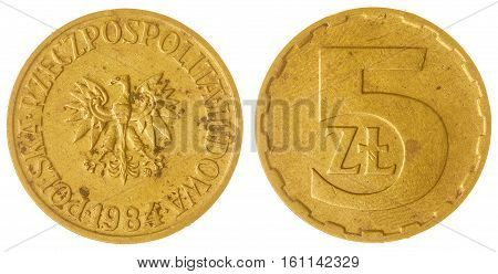 5 Zloty 1984 Coin Isolated On White Background, Poland