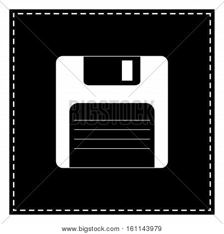 Floppy Disk Sign. Black Patch On White Background. Isolated.