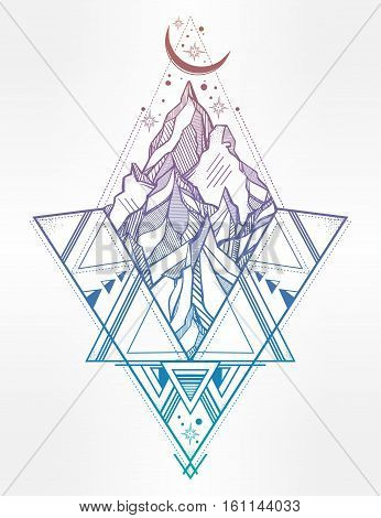 Hand drawn mountain composition with sacred geometry. Tribal template in boho style. Isolated Vector illustration. Invitation element. Tattoo, adventure, meditation symbol. American indian motifs.