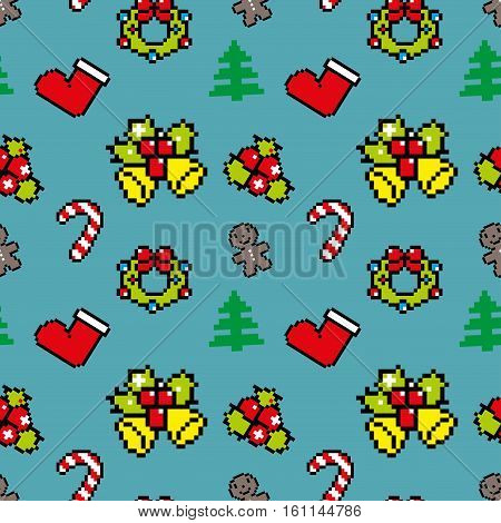 Background With Christmas Symbols Pixel Art Winter Pattern Blue Color
