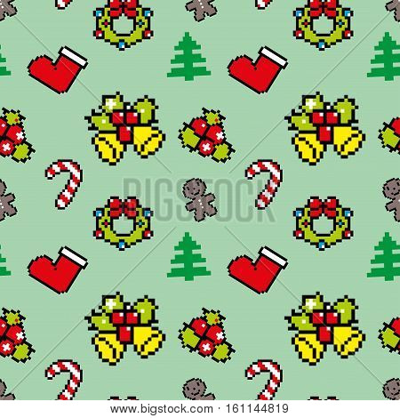 Background With Christmas Symbols Pixel Art Winter Pattern Green Color