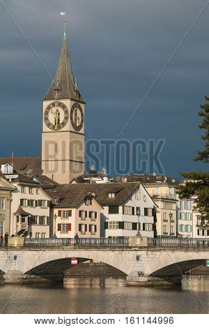 Beautiful view of Zurich church in the historic center
