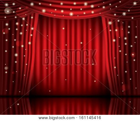 Open Red Curtains with Neon Lights and Copy Space. Vector Illustration. Theater, Opera or Cinema Scene.