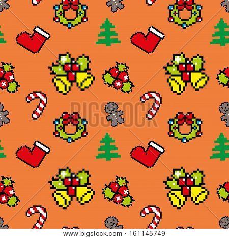 Background With Christmas Symbols Pixel Art Winter Pattern Orange Color