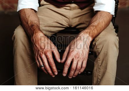 Brutal man`s hands close up. Masculinity concept.