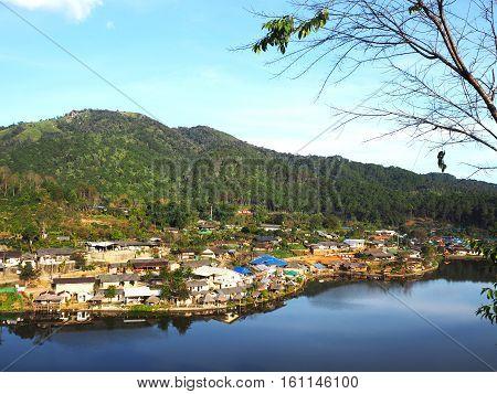 Village and lake landscape view at Rak Thai Village Mae Hong Son Province Thailand