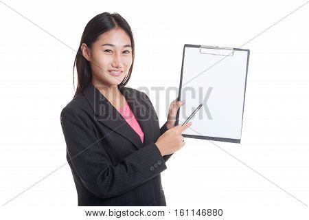 Happy Asian Business Woman Point To Clipboard With Pen..