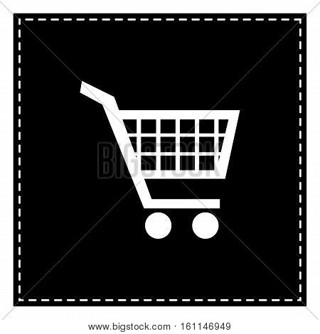 Shopping Cart Sign. Black Patch On White Background. Isolated.
