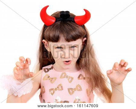Small Girl with Devil Horns Isolated on the White Background