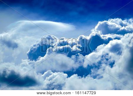 The Dramatic Cloudscape Background with Blue Sky