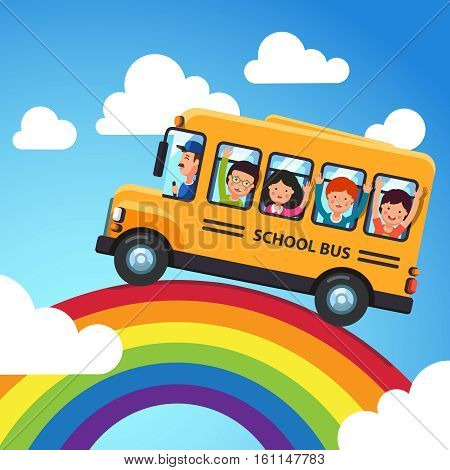 Yellow school bus. Driver with kids riding over the rainbow. Trip in the blue sky. Flat style cartoon vector illustration.